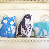 Arctic Animal Pillow Set. Hand Woodblock Printed. Save 20 Percent.