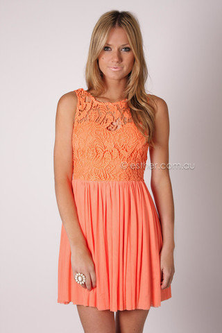 tea party lace bodice cocktail dress - coral at Esther Boutique