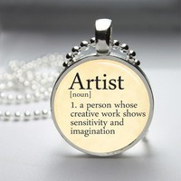 Artist Dictionary Definition Glass Tile Bezel Round Pendant Necklace