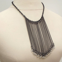 Long Chain Fringe Necklace:  Gunmetal Black, Silver, Edgy Statement Jewelry, Bib Necklace