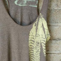 Cocoa and Pale Yellow Feathers Tri Blend Tank