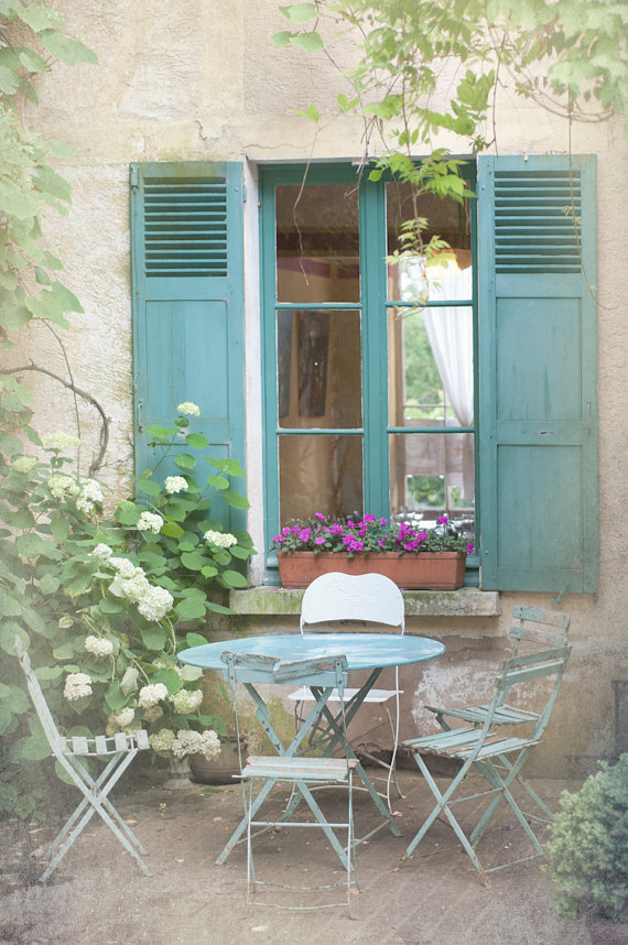 French Country Photo Blue Bistro Table From