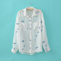 Printed Chiffon Perspective Long Sleeve Shirt$38.00