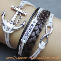 silvery anchor peace bracelet infinity karma bracelet wish bracelet brown leather -N599