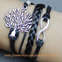beautiful wishing tree bracelet infinity karma bracele wish bracelet leather bracelet gift for friend lover -N597