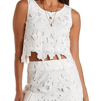Embroidered Lace Crop Top by Charlotte Russe - White