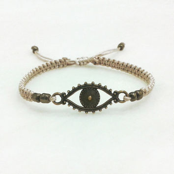 Good luck bracelet, evil eye protection bracelet macrame handknotted with beads