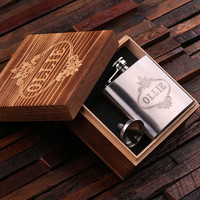 Personalized 5 oz Stainless Steel Metal Whiskey Scotch Flask Unique Men Christmas, Groomsmen, Man Cave, 21st Birthday Gift
