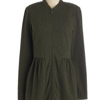 ModCloth Long Long Sleeve Lay of the Landmark Jacket in Olive