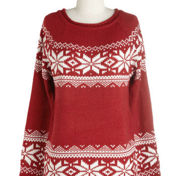 ModCloth Mid-length Long Sleeve The More You Snowflake Sweater in Red
