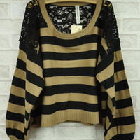 Khaki Lace Stripe Sweater $38.00