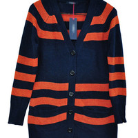 Blue Stripe Cardigan Dress Sweater $38.00