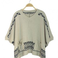 Embroidery Loose Shawl Sweater$42.00