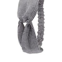 Knotted Houndstooth Head Wrap by Charlotte Russe - Black/White