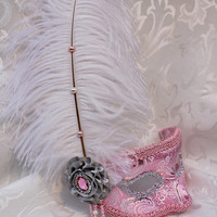 Pink and Silver Metallic Brocade Masquerade Mask with White Ostrich Plume Pink Masquerade Ball Masks