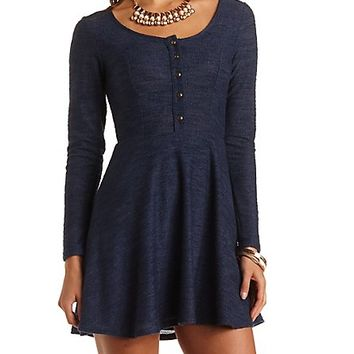 Textured Henley Skater Dress by Charlotte Russe - Sodalite Blue