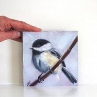Chickadee Bird Painting Original Oil on 5x5 Panel