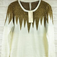 White Gold Thread Splicing Sweater $38.00