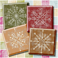 Traditional Christmas Colors, Digital Collage Sheet, 1 inch & 1.5 inch Squares, Printable Snowflakes, Instant Download, Snowflake Decoupage