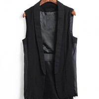 Black  Chiffon Lapel Vest$42.00