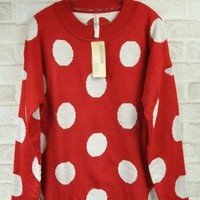 Red Bat Sleeve Medium Style Upset Sweater $39.00