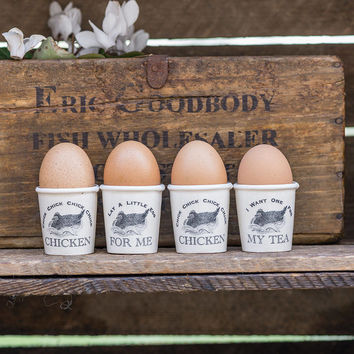 Set Of Four Ceramic Chicken Egg Cups