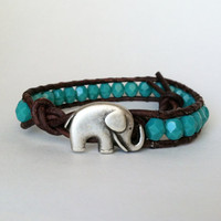 Elephant Bracelet, Good Luck Elephant, Green Turquoise Czech Glass Beads, Chan Luu Style
