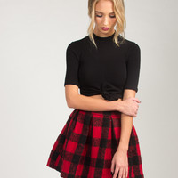 Checkered Flared Skirt - Red - Red /