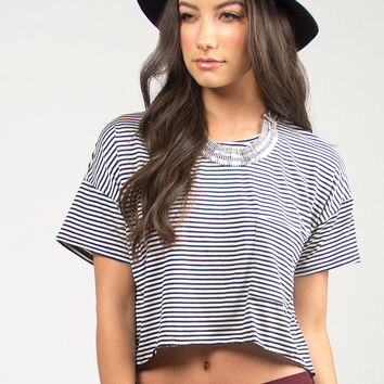 Pocket Striped Crop Tee - Black /