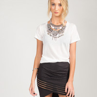 Asymmetrical Mini Skirt - Large - Black /