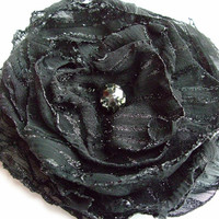 Black shimmering fabric flower holiday by ShabVintiqueFlowers