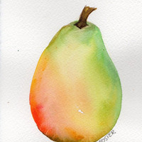 4 x 6 Original Green and Red and Yellow Pear  Painting watercolor painting