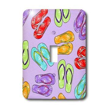 3dRose lsp_77539_1  Colorful Flip Flop Print Purple Background Single Toggle Switch