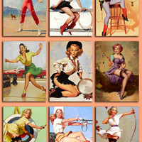 Digital Collage Sheet -  Pinup Girls from the 50's -  PNG and JPG files - Vintage illustrations - 2,5 x 3,5 inch - Vol. 4.
