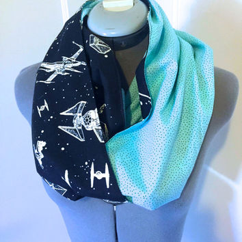 Glow in the Dark Star Wars Infinity Scarf, Circle Scarf, Disney, Tiffany Blue, Geekery, Gift, Present, Accessory, Hipster, Space, Disneyland
