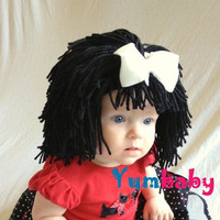 Baby Hat- Black Wig Hat- Ready to Ship- Girl Wig- Halloween Costume Girls- Princess Costume- Black Hair Wig- Baby Costume-  Girl Photo Prop