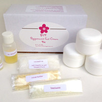 DIY Peppermint Foot Cream Kit/peppermint foot cream/foot cream/craft kit/gift for her/natural lotion/foot moisturizer/DIY foot cream/balm