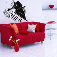 Wall Decor Vinyl Decal Sticker Room Interior Music Decal Man Playing a Piano Kj214