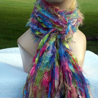 Fringe Scarf for Women Green, Blue, Purple , Pink  Fiber Arts, Cotton Candy