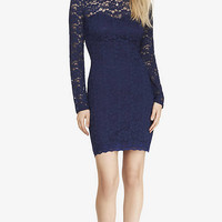 BLUE LACE ILLUSION BACK SHEATH DRESS from EXPRESS
