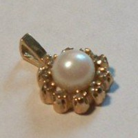 Beautiful Gemstone Pendant 3mm Cultured Pearl Set in 14k Yellow Gold with Ten by TKSPRINGTHINGS