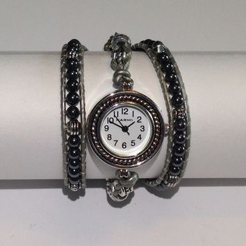 Handmade 3X Wrap Bracelet Watch in Silver and Hematite