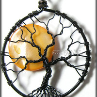 Under A Halloween Moon - Full Moon Tree of Life Pendant Orange Pearl Coin Bead Black Wire Haunted Forest Harvest Moon Jewelry Design Star
