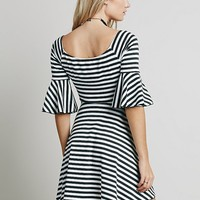 Free People Striped Fit Flare and Flare