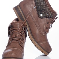 Ice Breaker Faux Leather Lace Up Sweater Cuff Boots - Taupe