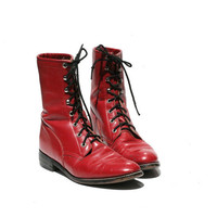 JUSTIN Red Leather Ankle Boots size 10