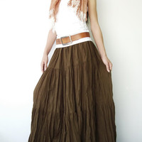 NO.5 Greenish Brown Cotton, Hippie Gypsy Boho Tiered Long Peasant Skirt