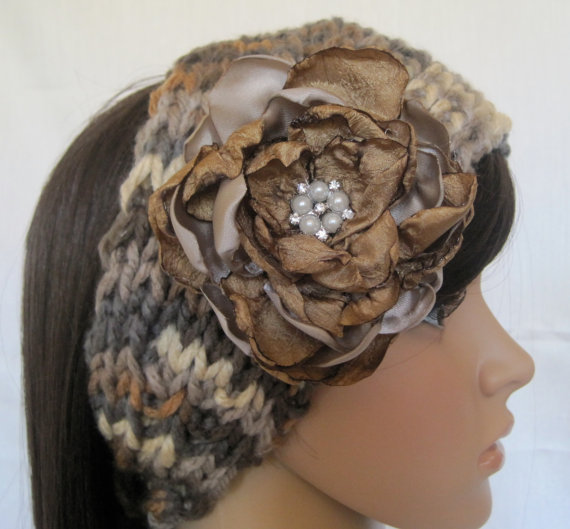 Ear Warmer Headband Headwrap Hand Knit In Shades of Brown and Grey with Removable Satin Fabric Flower and Pearl and Rhinestone Accent