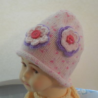Infant Pink Flowered Beanie Hat by IllusionsbyDonna on Zibbet