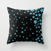 Starry Magic - Blue Throw Pillow by Lisa Argyropoulos